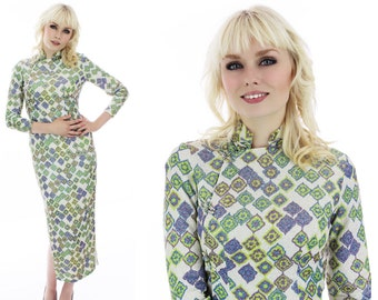 Mod 60s Chinese Dress Metallic Abstract Asian Wiggle Bodycon Psychedelic 70s 1960s Sixties Retro Mad Men Small S XSmall XS