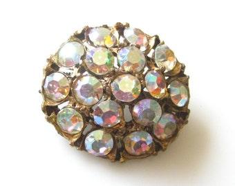 Vintage Round Statement Pin Brooch with Sparkling AB Rhinestones