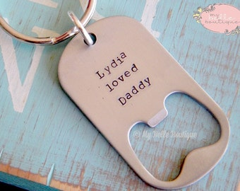 Personalized Hand Stamped Bottle Opener Key Chain / Keychain for Mom, Dad, Grandma, Grandpa