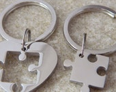 Couples Stainless Steel Heart Puzzle Piece Keychains