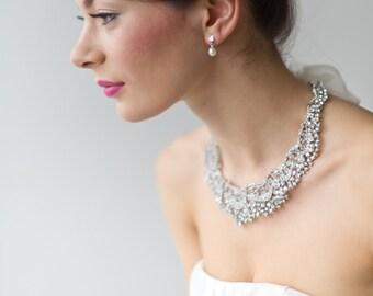 Wedding Necklace, Wedding Jewelry, Bridal Ribbon Wedding Necklace