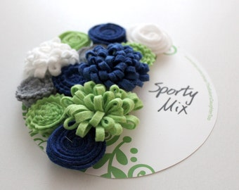 Wool Felt Flowers, Green White Gray and Blue Flowers for DIY Projects
