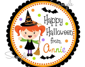Printable Halloween Tags, Halloween Witch Stickers, Witch  Labels, Personalized Gift Tags, Stickers, DIY, Digital file