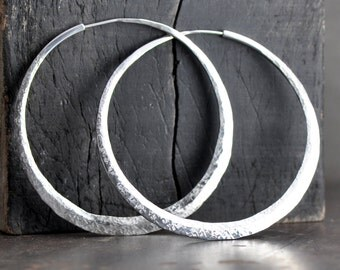 2 1/2 inch sterling silver hoop earrings,  large hammered crescent moon loop, available in your choice of texture and finish, eco friendly