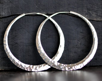 2 inch hammered sterling silver hoop earring, medium wide handcrafted crescent moon hoop, ball pein texture or your choice, eco friendly
