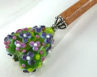 Hairstick Wildflower In Artisan Glass