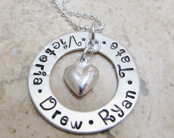Mommy Necklace - Sterling Silver  -  Mommy - Mother - Grandma -  Four Names Circle of Love