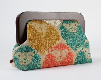 Wooden frame clutch bag - Monarch Canvas - Trip purse / Cotton and Steel / Wattsalot / Lion / Teal coral and mustard yellow