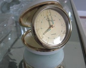 Travel Clock, White, Mid Century, Works Perfectly!