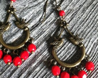 Bird Chandelier Earrings in Red