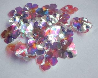 25 pcs  Shiny Silver Rainbow Color Flower Sequins/KBBF506