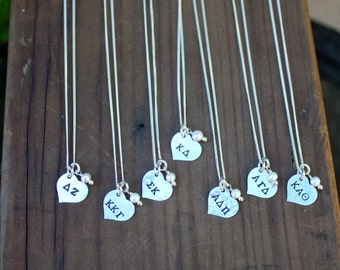 Sorority Necklace Sterling Silver Petite Heart - Sorority Jewelry, Big Sis Lil Sis, Bid Day Gift, Initiation Gift, Sorority Recruitment Gift