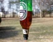 Recycled Heiniken Beer bottle hummingbird feeder