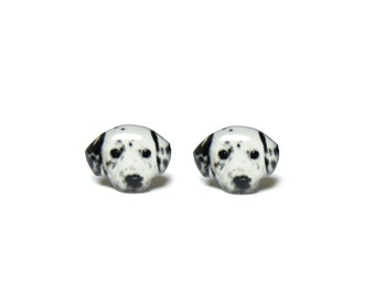 Black and White Dalmatian Dog Stud Earrings / Dalmatian Earrings / Dalmatian Jewelry / Dog earrings / Dalmatian gift / present / A025ER-D17