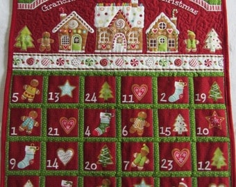 Advent Calendar Quilted, Advent Calendar Christmas Gingerbread Village, Quilted Advent Calendar Wall Hanging, Countdown to Christmas