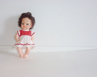 Vintage Doll with Red and White Polka Dot Dress