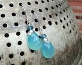 Aqua chalcedony briolettes, turquoise briolettes, aqua earrings, turquoise earrings