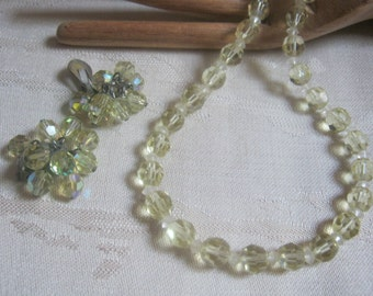 Vintage Palest green faceted crystals necklace and earrings, light green dangle clip earrings and necklace, retro crystal necklace earrings