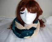 wool ivory and green cowl