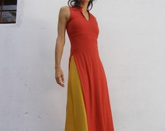 SALE -ASIAN maxi dress/ TUNIC-Summer dress tunic-Womens sleeveless elegant maxi dress-maxi tunic-Made to order-Summer womens dress