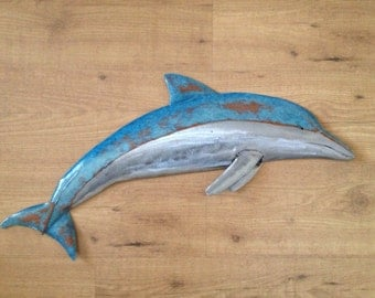 Dolphin Metal Fish Wall sculpture 30in Long Tropical Beach Coastal ocean Art