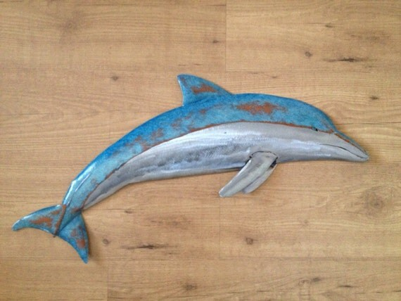 Dolphin Metal  Wall sculpture 30in Long Tropical Beach Coastal ocean Art Fish