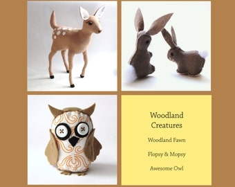 DIY Woodland Creatures Bundle 3 pdf patterns - Woodland Fawn, Flopsy & Mopsy and The Awesome Owl --INSTANT DOWNLOAD--