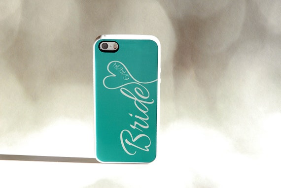 Bride + Wedding Date Custom iPhone Case + Color like Tiffany Blue
