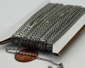 Stainless Steel chain bulk, 10 ft of Surgical Stainless Steel Small Soldered Sturdy FLAT cable chain - 1.8mm SOLDERED Link