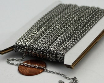 3 ft of Surgical Stainless Steel Small Soldered Sturdy FLAT cable chain - 1.8mm SOLDERED Link
