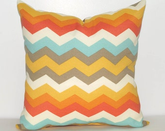 Sun N Shade Panama Wave Chevron Outdoor Throw Pillow in Orange, Mist, Golden Yellow, Taupe - Free Shipping