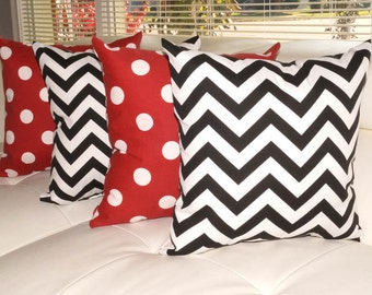 Chevron Black and White and Polka Dot Red Outdoor Throw Pillow - Set of 4 - Free Shipping
