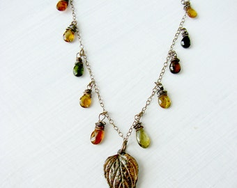 Oxidized Sterling Silver Amber Charm Necklace - Green Brown Gold Tourmaline