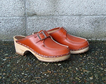 Orange Wooden Clogs Shoes Vintage 1970s Lafsko Leather Size 36