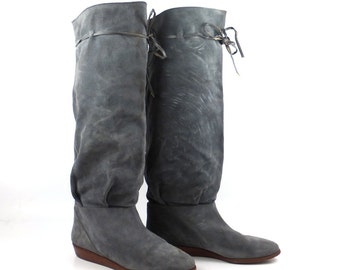 Suede Wedge Boots Vintage 1980s Gray Marshall Field Made in Italy Tall Women's size 7 1/2