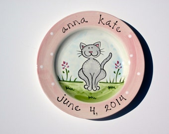 birth gift, baby gift, first birthday gift personalized hand painted baby kitty birth ceramic plate