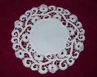 Six Antique Round Doilies with Hand Embroidery