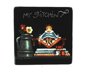 My Stitching Sign Hand Painted Wood Plaque 104