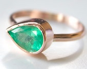 Emerald and Rose Gold Ring - Recycled 14k Rose Gold - Teardrop Colombian Emerald - May Birthstone Ring - Rose Gold Stacking Ring