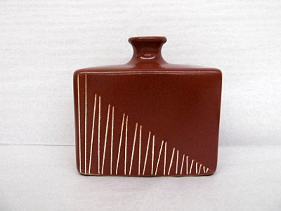 Vintage Larry Laslo For Royal Haeger Chocolate Brown Sgraffito