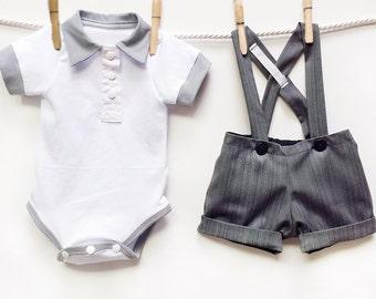 Grey Pinstripe Shortall Baby Boy Wedding Outfit, 2 Piece Boys Dress Clothes Set, Baby Boy Ringbearer Outfit, Baby Suit Boy Wedding Clothes