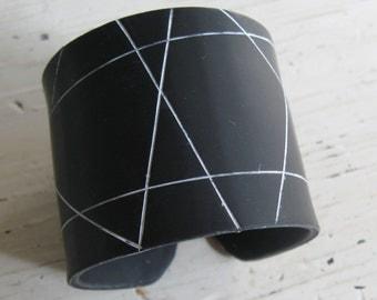 SALE Geometric Black Cuff Bracelet, Polymer Clay Jewelry by theshagbag on Etsy