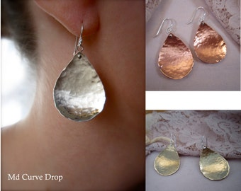Md hammered curved tear drop - earrings with ear wire or post - copper, bronze, or sterling