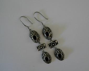 Sterling and Black Onyx Pierced Earrings