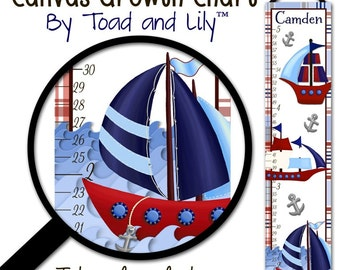 Canvas GROWTH CHART Red and Blue Sail Boat Nautical Boys Bedroom Baby Nursery Bedroom Wall Art GC0094