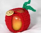 Crocheted Apple Cozy Jacket Apple Holder in Red Cotton Yarn