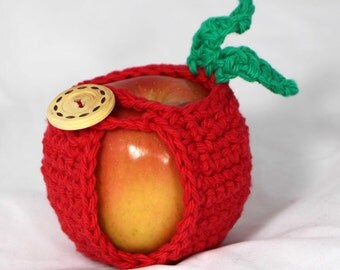 Crocheted Apple Cozy Jacket Apple Holder in Red Cotton Yarn