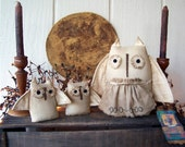 Primitive Grungy Autumn Fall Harvest Moon and Owl Family Set Trio, OFG HAFAIR FAAP