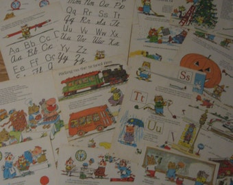 Fifteen Large Vintage Richard Scarry Pages