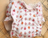 size 1 - newborn - small - fitted organic cloth diaper - ladybug print
